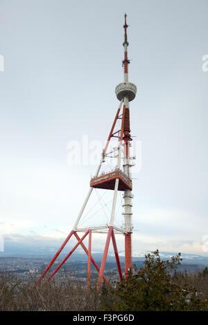 TV tower on the mount Mtatsminda in Tbilisi, capital of Georgia - Stock Photo