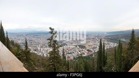 Aerial view on the center of Tbilisi, capital of Georgia - Stock Photo