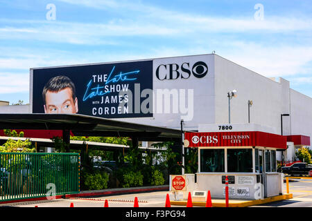 Entrance to CBS Television City on Beverly Blvd in downtown Los Angeles - Stock Photo