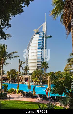 DUBAI, UAE - JANUARY 20: Burj Al Arab hotel on January 20, 2011 in Dubai, UAE. Burj Al Arab is a luxury 5 star hotel - Stock Photo
