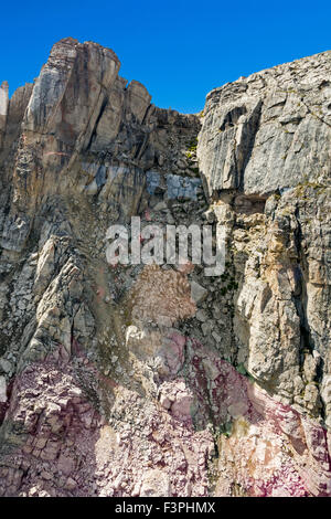 Summer view from aerial tram of famous ski run; Corbet's Couloir; at the top of Jackson Hole Mountain Resort; Wyoming; - Stock Photo