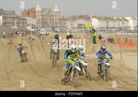Weymouth, Dorset, UK - 11th October 2015. Annual Lion's Beach motocross weekend on Weymouth Beach.  Weymouth & Portland - Stock Photo