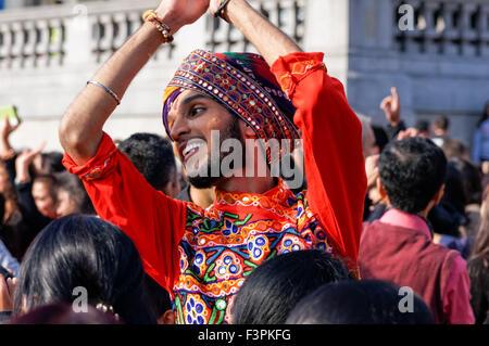 Diwali celebrations at Trafalgar Square, London England United Kingdom UK - Stock Photo
