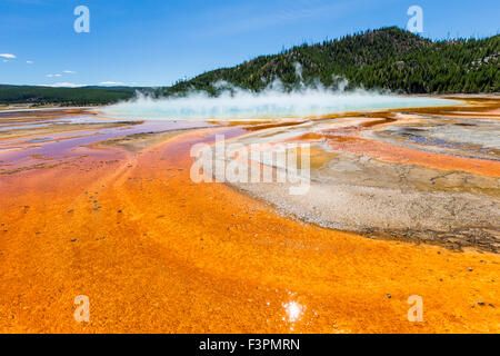 Grand Prismatic Spring; Midway Geyser Basin, Yellowstone National Park, Wyoming, USA - Stock Photo