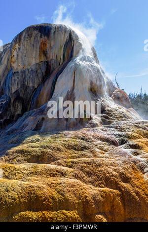 Orange Spring Mound; Mammoth Hot Springs; Yellowstone National Park; Wyoming; USA - Stock Photo