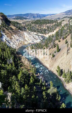 Calcite Springs; Yellowstone River; Grand Canyon of the Yellowstone, Yellowstone National Park, Wyoming, USA - Stock Photo