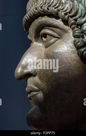 Rome. Italy. Capitoline Museum. Colossal bronze head of Constantine the Great, 4th C AD. - Stock Photo