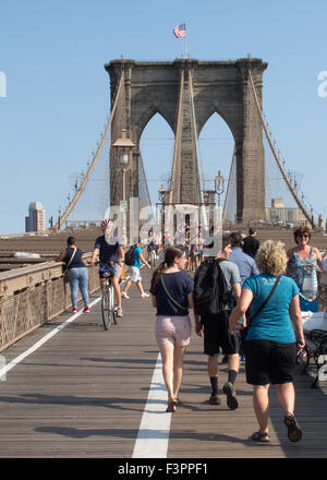 People on Brooklyn Bridge, Manhattan, New York City, New York, USA, - Stock Photo
