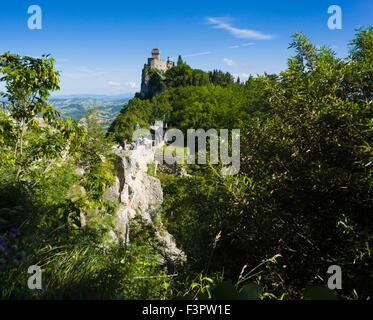Italy, Emilia-Romagna, Republic of San Marino - the fortress on the craggy rock. - Stock Photo