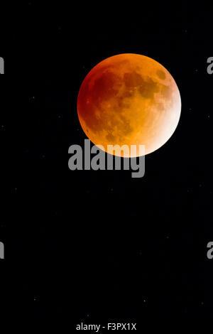 Rare Total Lunar Eclipse of a Super Full Moon over Rocky Mountains, Salida, Colorado, USA - Stock Photo