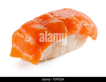 Sushi with trout isolated on the white background. - Stock Photo