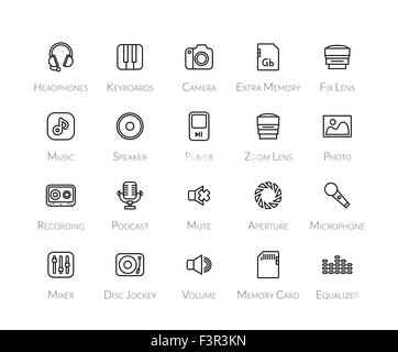 Outline icons thin flat design, modern line stroke style - Stock Photo