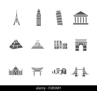 World landmarks silhouette icons set - Stock Photo