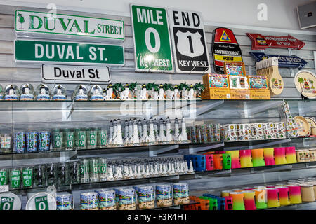 Florida Key West Keys Route 1 Whitehead Street Mile Marker 0 End of the Road gift shop store souvenirs sale display - Stock Photo