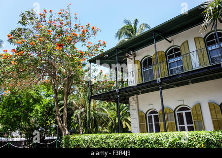 Florida Key West Keys Whitehead Street The Ernest Hemingway Home and Museum outside exterior - Stock Photo