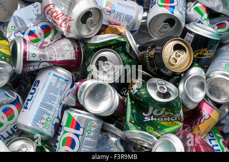 A stack of aluminum can for recycle - Stock Photo