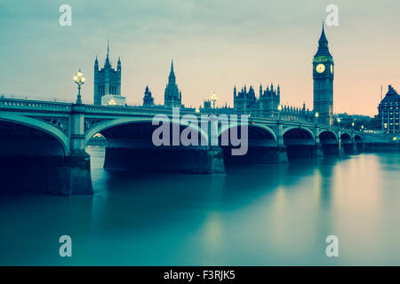 Westminster Bridge, Palace of Westminster and Big Ben, London, United Kingdom - Stock Photo