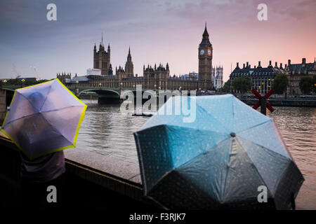 Westminster Bridge, Big Ben and Westminster Palace in rainy weather, London, United Kingdom - Stock Photo