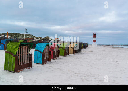 Wicker beach chairs on the beach, Helgoland, Schleswig-Holstein, Germany - Stock Photo