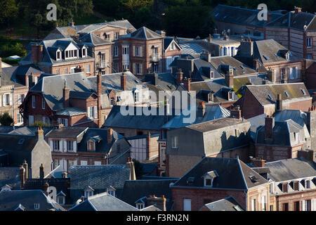 View of Etretat, Cote d'Albatre, Pays de Caux, Seine-Maritime department, Upper Normandy region, France - Stock Photo