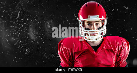 Composite image of portrait of american football player wearing his helmet