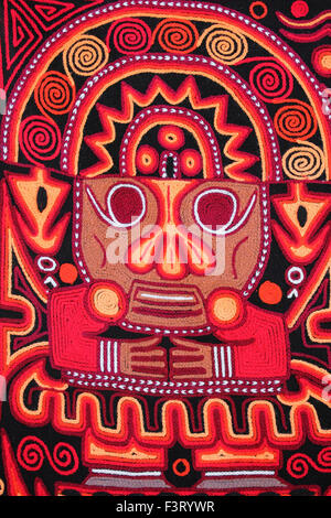 Embroidery Detail of a Tumi On A Tapestry from the Floating Uros Islands, Lake Titicaca, Peru - Stock Photo