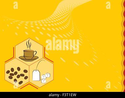 Coffee Tea Menu Card Design Template Vector Art - Stock Photo