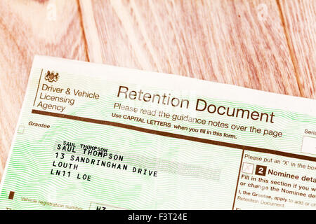 Retention document private number plate car registration form certificate cherished transfer personal plates UK - Stock Photo