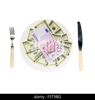 Money on plate isolated on white background - Stock Photo