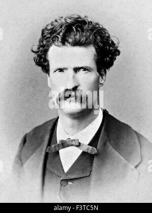 MARK TWAIN - Samuel Langhorne Clemens (1835-1910) American author and humourist in 1867 - Stock Photo