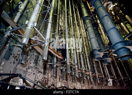Technician working on cooling rods, interior of nuclear power plant near Stockholm, Sweden - Stock Photo