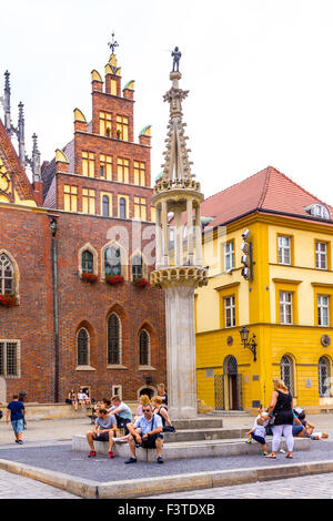 Architecture of the Old Market Square in Wroclaw, Poland - Stock Photo