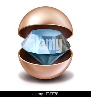 Investing secrets concept as an open precious pearl with a sparkling diamond inside as a business investing metaphor - Stock Photo