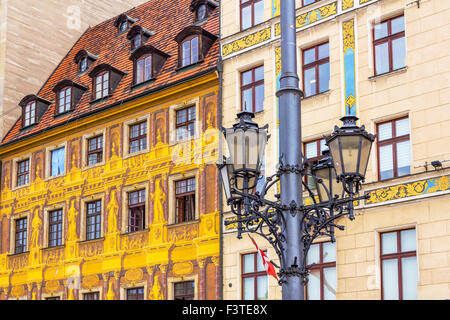 Close up of old, unique historical tenement houses at the Old Market Square in Wroclaw, Poland - Stock Photo