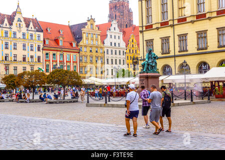 Beautiful historical tenement houses at Old Market Square in the Old Town in Wroclaw, Poland, Europe - Stock Photo