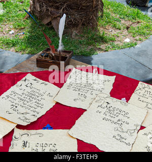 ancient letter written by hand - Stock Photo