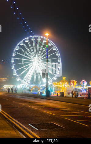 Photograph of Sunderland Illuminations 2015 Along Whitburn Road (A183) Showing the Vue Big Wheel and Childrens Rides - Stock Photo
