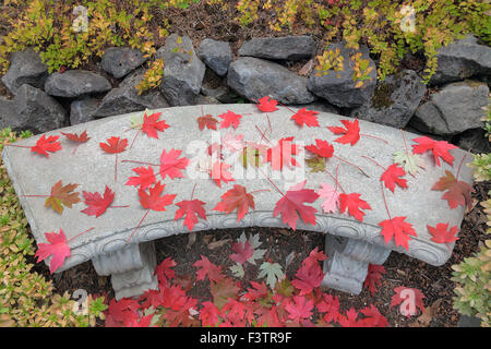 Red Maple Leaves on Conrete Stone Garden Bench During Fall Season - Stock Photo