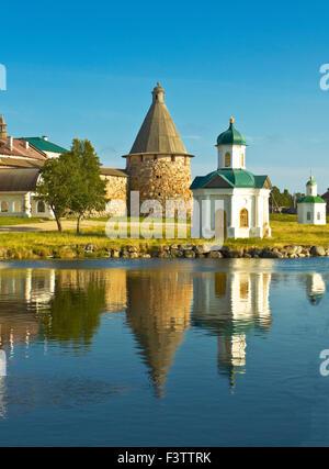 Transfiguration of Jesus Christ Savior Solovetskiy monastery on Solovki islands (Solovetskiy archipelago) in White - Stock Photo