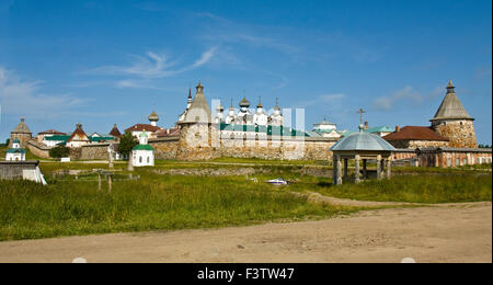 Transfiguration of Jesus Christ Savior Solovetsky monastery on Solovki islands (Solovetsky archipelago) in White - Stock Photo