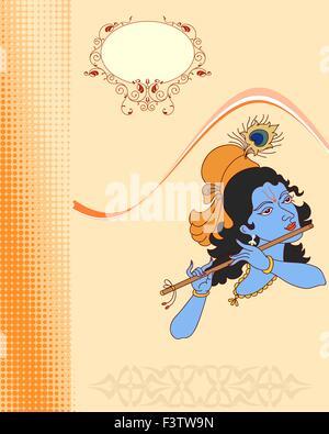 Calligraphic Lord Krishna Vector Art - Stock Photo