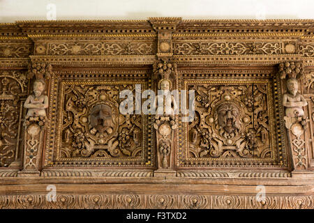UK, England, Shropshire, Craven Arms, Stokesay Castle, The Solar, ornate fire surround carving detail - Stock Photo