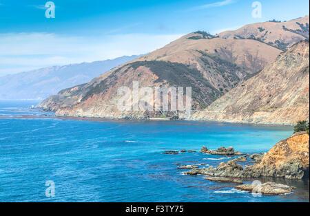 California coastline along Pacific Coast Highway, USA. - Stock Photo