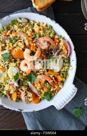 bulgur with seafood, above Stock Photo