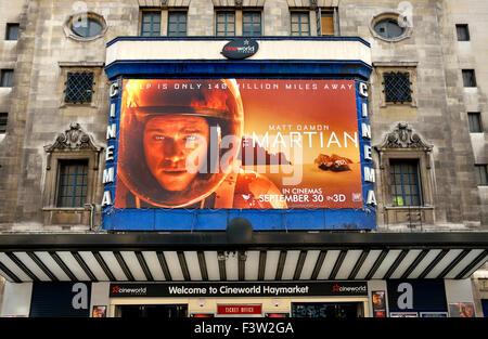 London, England, UK. 'Martian' (staring Matt Damon; Dir - Ridley Scott) at the Cineworld Haymarket cinema, October - Stock Photo