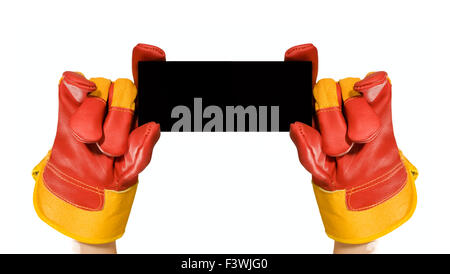 Red protective gloves holding an empty frame - Stock Photo