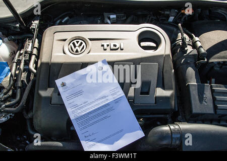 Mousehole, Cornwall, UK. 13th October 2015. Letters from VW with reference to emissions issues start to arrive at - Stock Photo