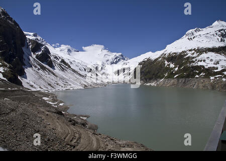Mooserboden reservoir in Kaprun, Austria - Stock Photo