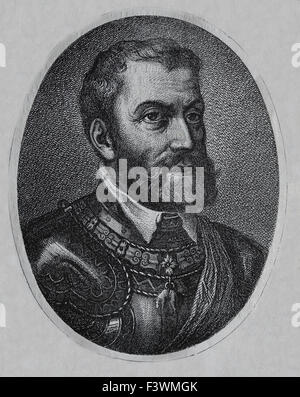 Charles I of Spain and V of Germany (1500-1558). Portrait. Engraving. 19th century. - Stock Photo