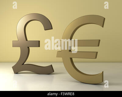 Euro and pound sterling sign - Stock Photo
